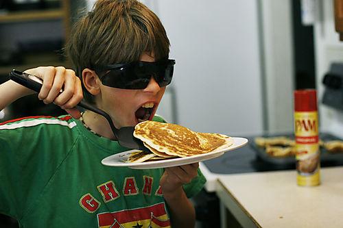 Judah making pancakes