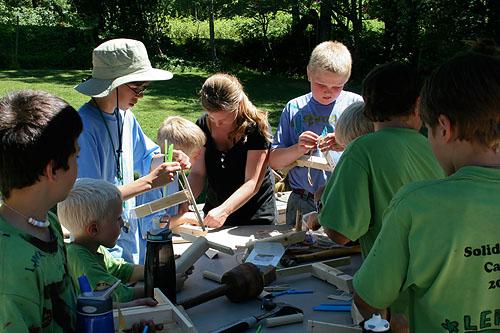 kids doing crafts at diy summer camp